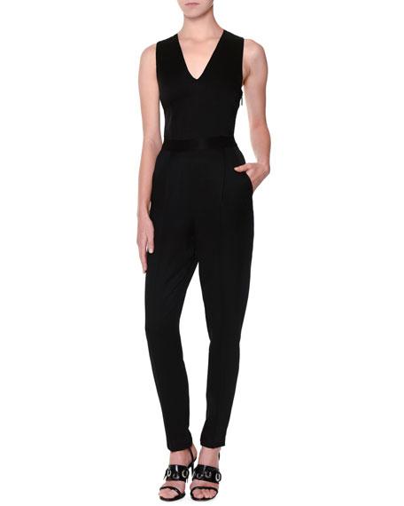 Sleeveless Crepe V-Neck Jumpsuit, Black
