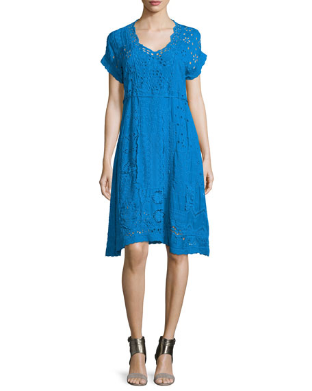 Johnny Was Collection Short-Sleeve Midi Eyelet Dress