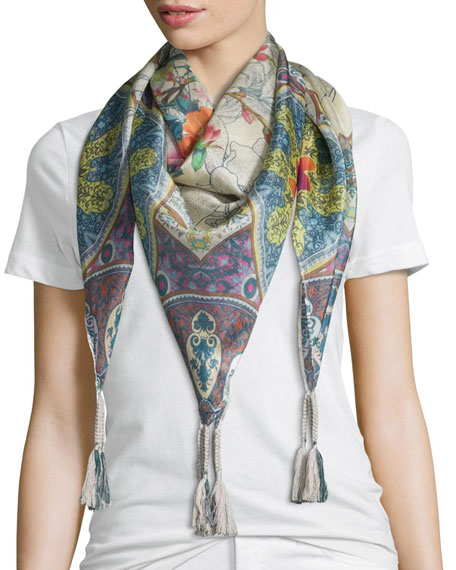 Johnny Was CollectionVilla Printed Silk Tassel Scarf