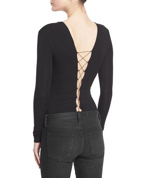 T by Alexander Wang Lace-up Stretch Jersey Bodysuit, Black