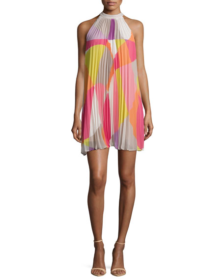 Trina Turk Sleeveless Mod-Print Pleated Dress
