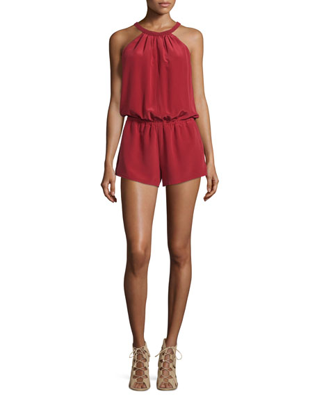 JoieNasiba Silk Halter Jumpsuit, Brick Red