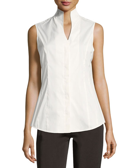 Misook Sleeveless Stretch-Cotton Shirt, Petite