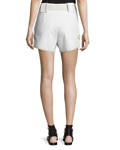 Belted Mid-Rise Shorts, White
