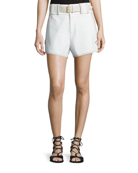 Derek Lam 10 Crosby Belted Mid-Rise Shorts, White
