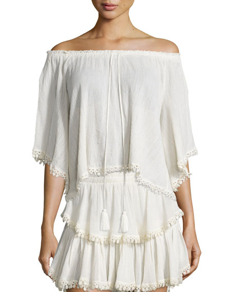 LoveShackFancy Gypsy Cotton Tassel Top, Dahlia
