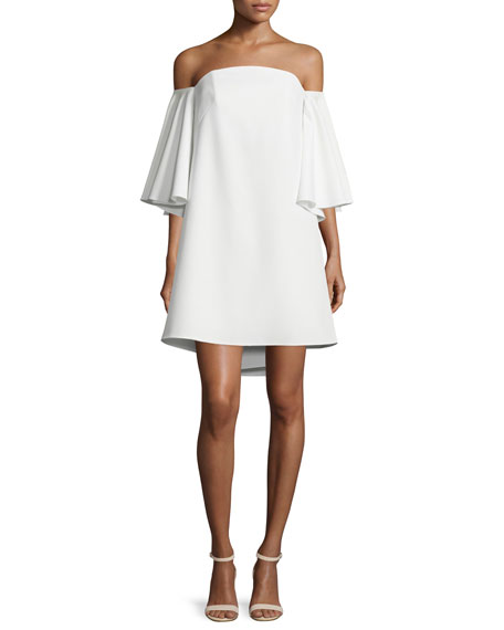 Milly Mila Off-The-Shoulder Mini Dress, White