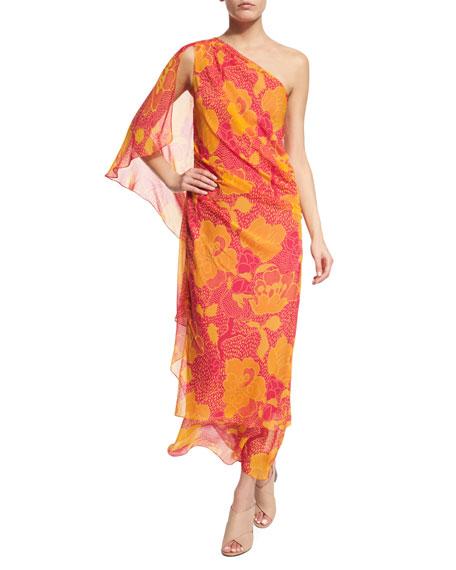 Diane von Furstenberg Nori Flower Power Silk Maxi Dress, Fuchsia
