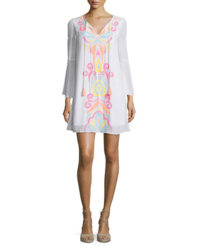 Ellie Embroidered Tunic Dress, Multi Colors