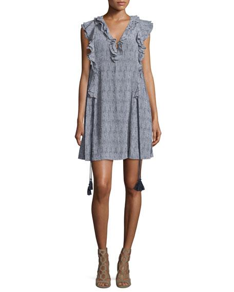 Apiece Apart San Rafael Ruffle Short Dress, Navy