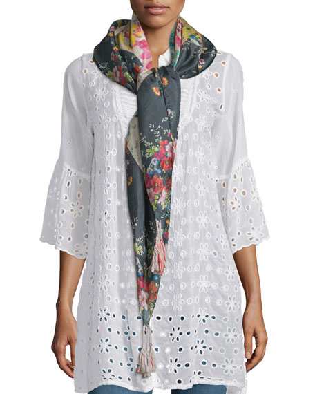 Johnny Was Collection Tropical Floral-Print Silk Scarf