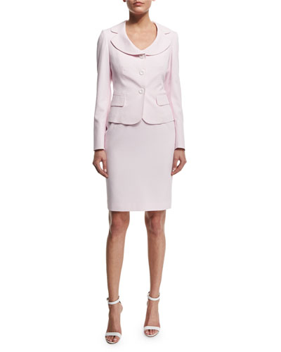 Seersucker Jacket & Dress Set, Pink Blush/White