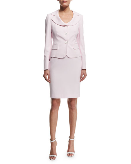 Albert Nipon Seersucker Jacket & Dress Set, Pink Blush/White