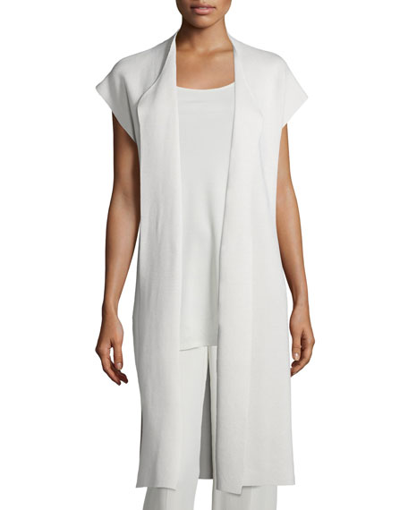Draped Long Cotton/Silk Interlock Vest