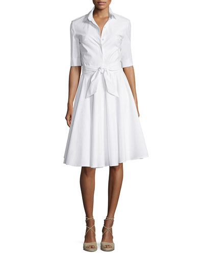 Half-Sleeve Belted Shirtdress, White