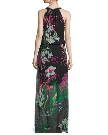 Cayla Halter-Neck Floral-Print Maxi Dress, Black