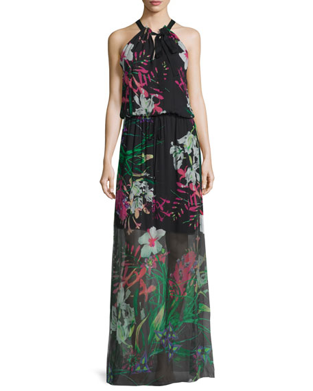 Elie TahariCayla Halter-Neck Floral-Print Maxi Dress, Black