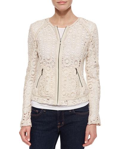Crochet Jacket with Lambskin Trim  Ecru