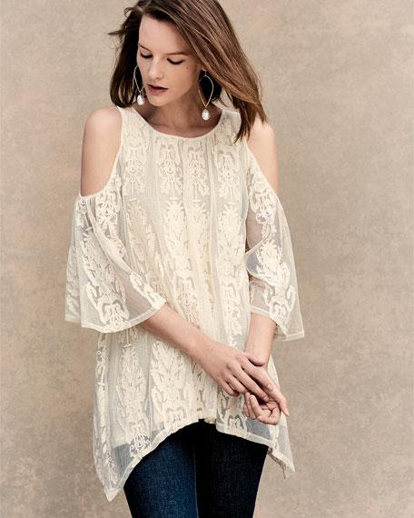 Risette Cold-Shoulder Bouquet-Embroidered Top, Plus Size