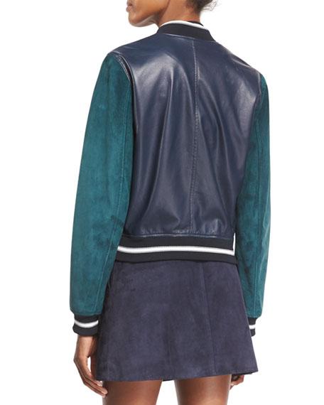 Alix Leather Colorblock Varsity Jacket, Navy
