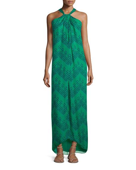 Diane von Furstenberg Lilita Chevron Dots Silk Gown,