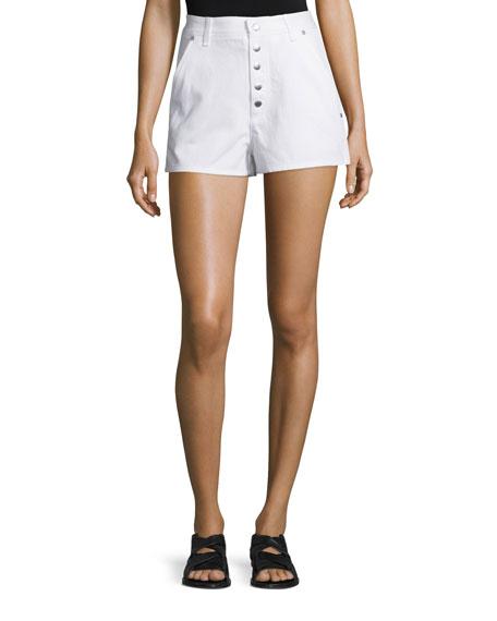 Rag & Bone Branson Snap-Front Twill Shorts, White