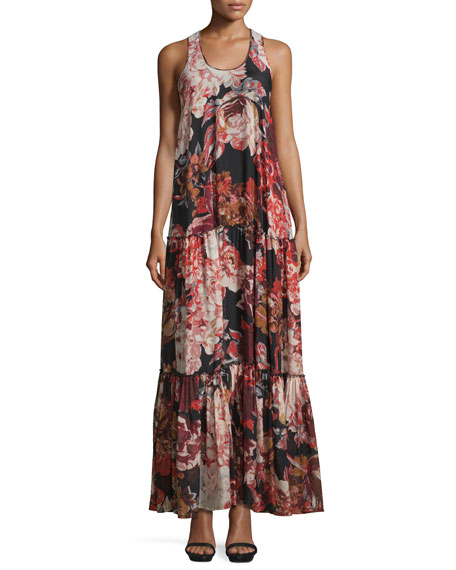Elizabeth and James Izzie Floral Silk Maxi Dress,