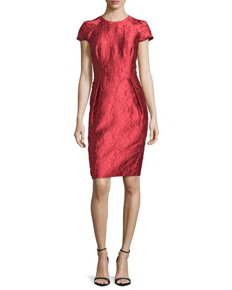 Carmen Marc Valvo Cap-Sleeve Structured Floral Sheath Dress,