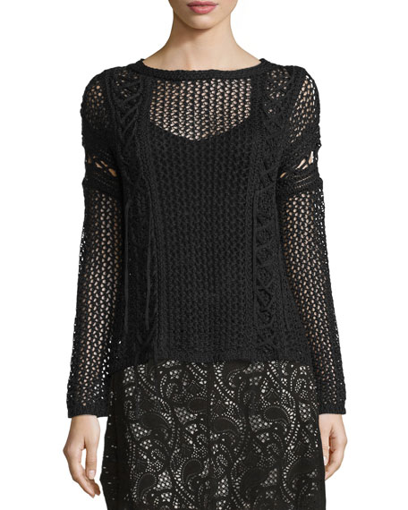 The Slick Crochet Pullover Sweater, Black
