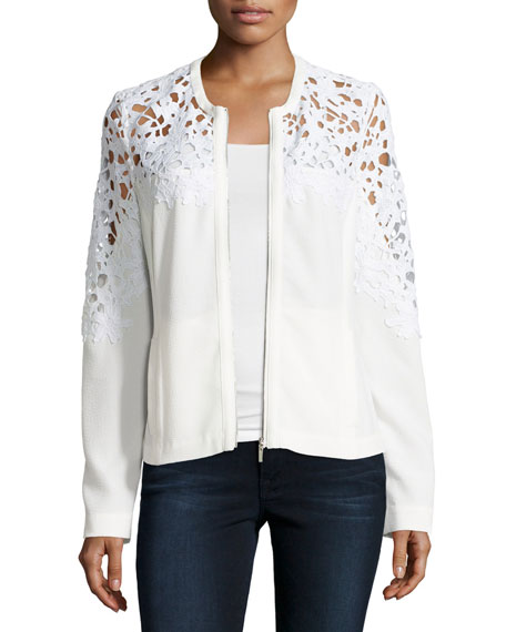Crochet Lace-Inset Bomber Jacket, White