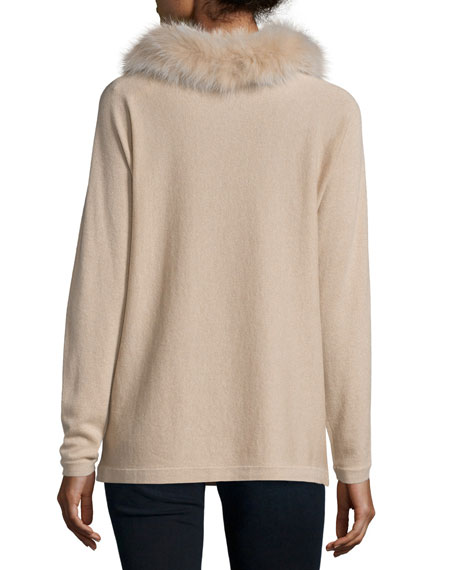 Cashmere Dolman-Sleeve Sweater w/ Fox Fur Collar