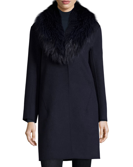 Double-Face Cashmere Coat w/ Fox Fur Collar