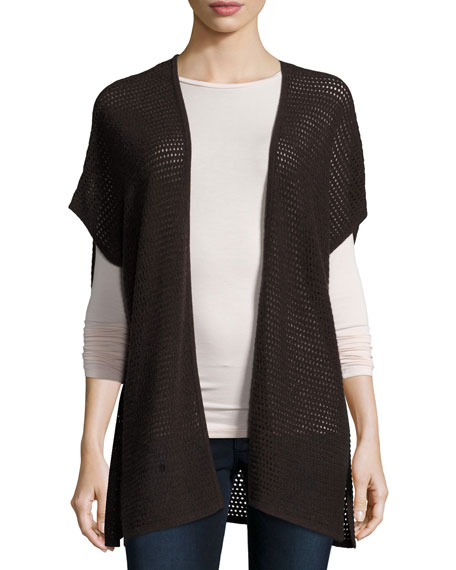 Short-Sleeve Open-Weave Cashmere Cardigan