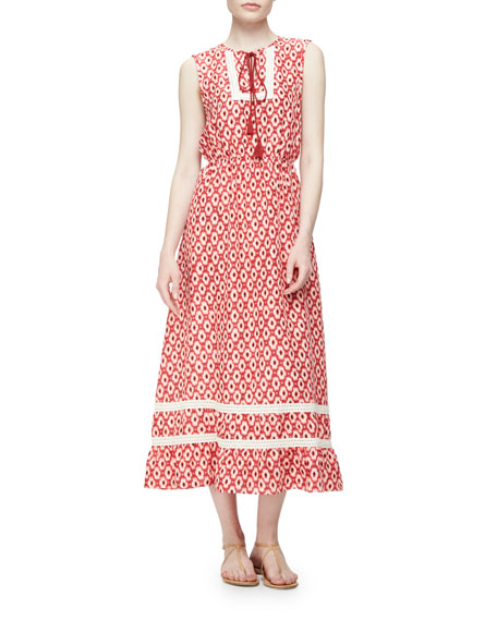 smocked-waist ikat midi dress, red chestnut/multi