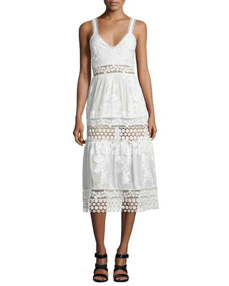 Self PortraitSleeveless Embroidered Prairie Dress, White