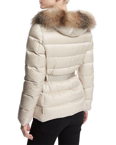 Tatie Hooded Fur-Trim Puffer Jacket