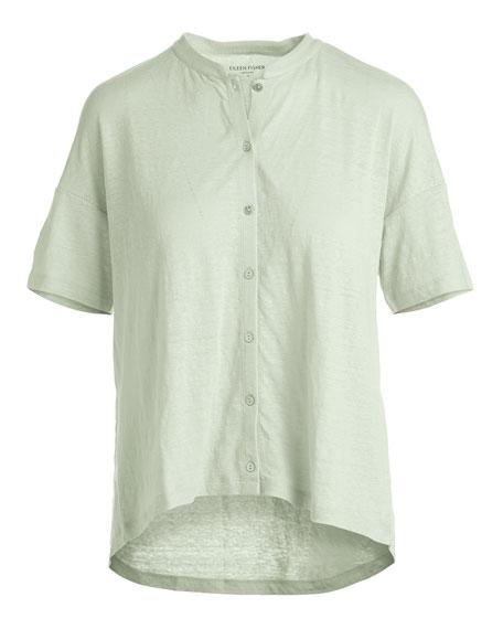 Short-Sleeve Button-Front Linen Jersey Top