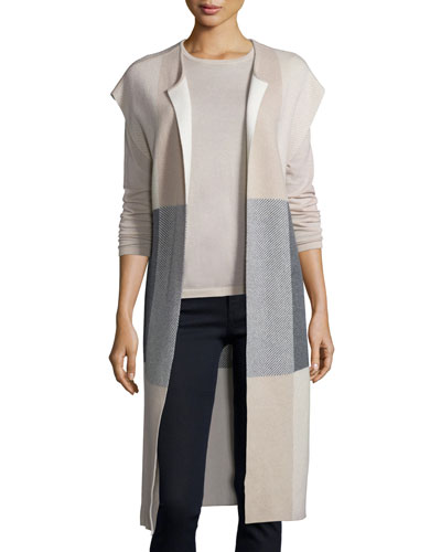 Long Dolman-Sleeve Plaid Cashmere Vest, Sand/Heather/Gray