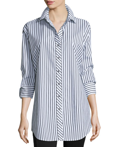 Plus Size Long-Sleeve Skinny-Striped Big Shirt, White/Black