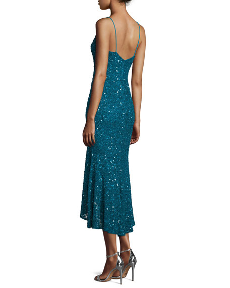 Sleeveless Beaded Midi Cocktail Dress, Peacock