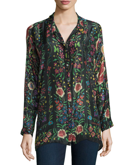 Emby Button-Front Floral-Print Blouse, Black/Multi