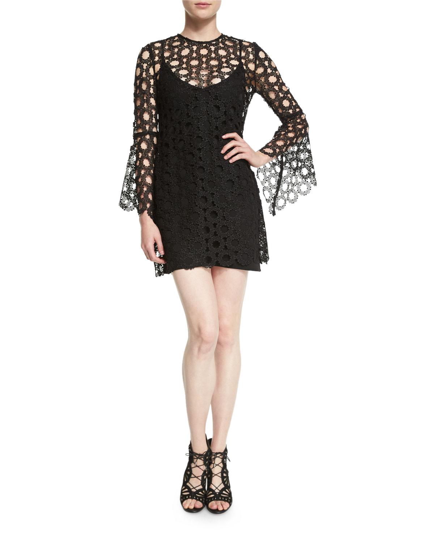 33360bbd152c n/nicholas Lace-Overlay Long-Sleeve Mini Dress, Black   Neiman Marcus