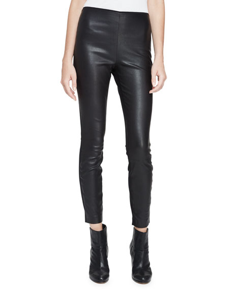 Josephine Leather Combo Leggings, Black