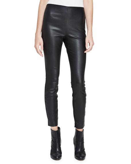 Rag & Bone Josephine Leather Combo Leggings, Black