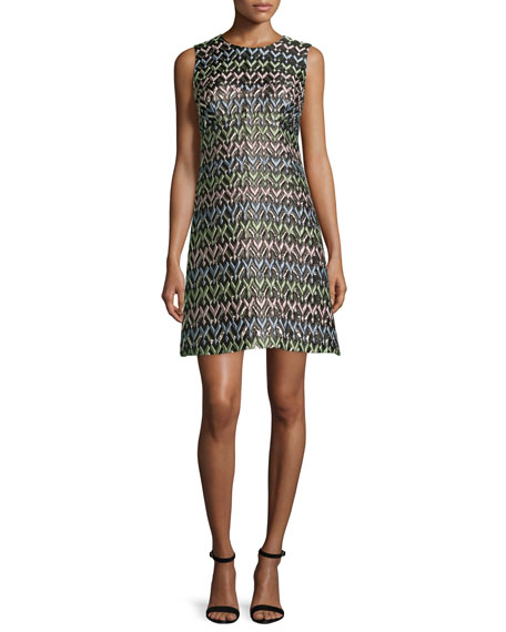 Milly A-Line Chevron Brocade Mini Dress, Multi