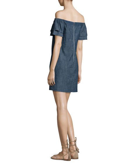 Tula Off-the-Shoulder Denim Shift Dress