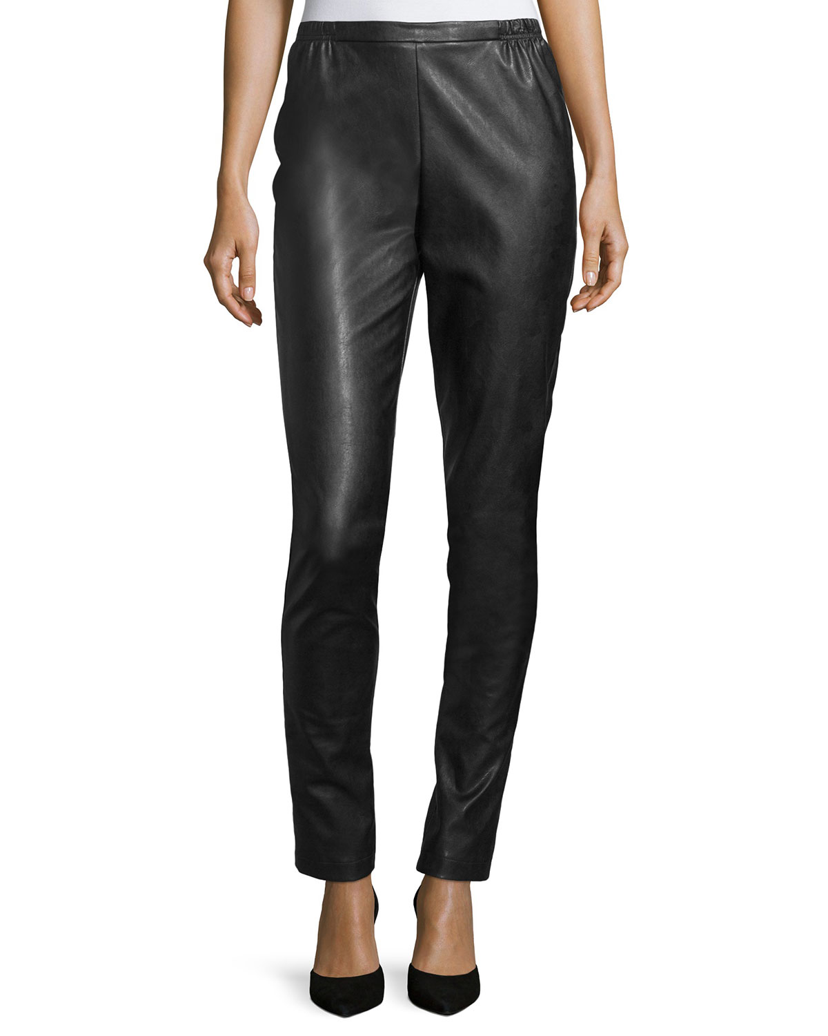 Caroline Rose Plus Size Faux-Leather Skinny Pants