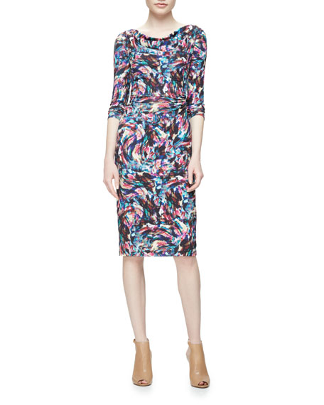 David Meister Long-Sleeve Confetti Jersey Sheath Dress,