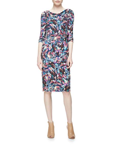 David Meister Long-Sleeve Confetti Jersey Sheath Dress, Pink/Multicolor