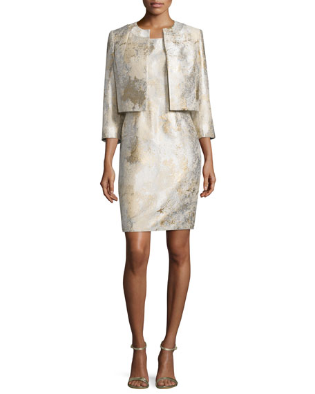 ALBERT NIPON Gold Jacquard Open Jacket And Matching Dress in Gold Sand